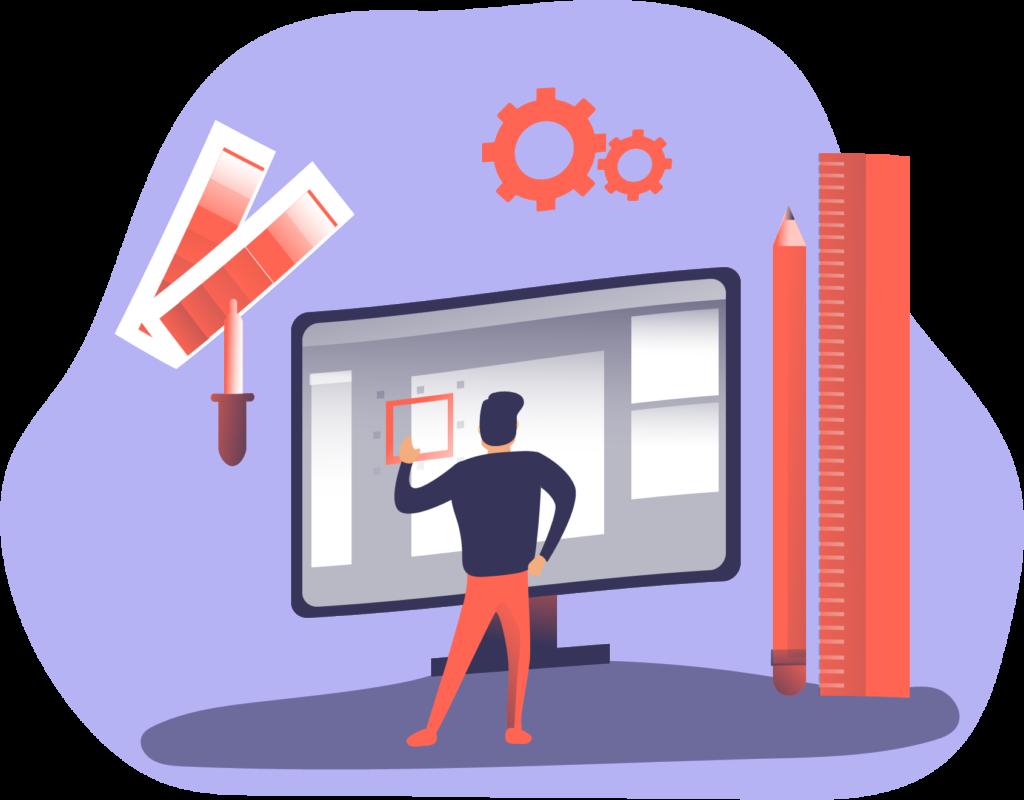 Freelance Web Design - Graphic of person designing website